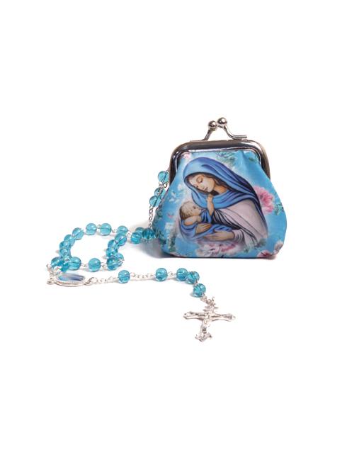 Borsellino in stoffa  con rosario in vetro