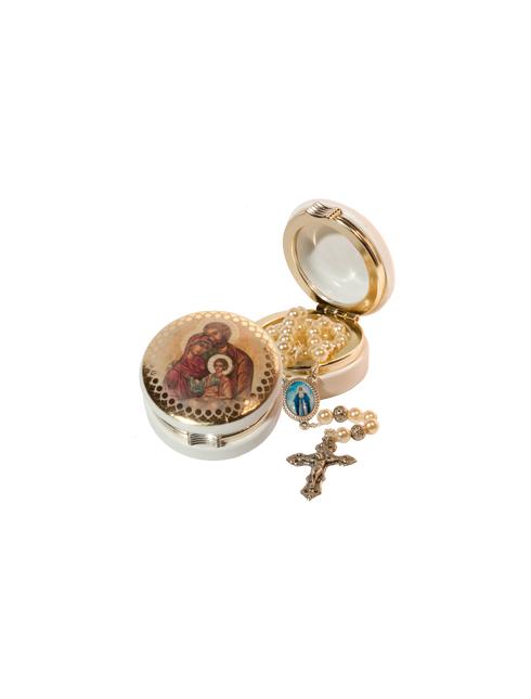 Scatola portacorona con immagine con decorazione in oro