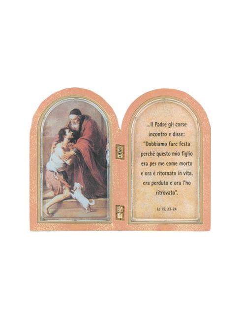 Dittico effetto legno soggetti sacramenti  12,9x4 cm