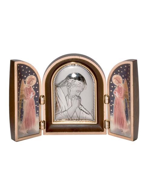 Trittico effetto legno con placca argento bilaminato