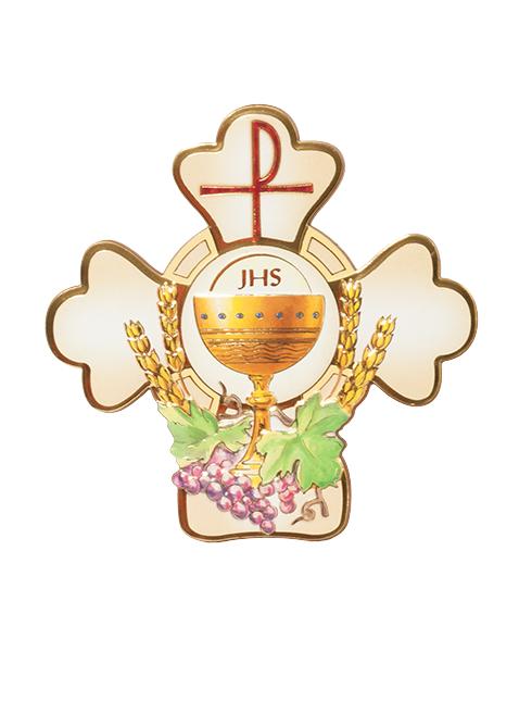 Croce in polimero sagomata con immagine a rilievo e dettagli in oro a caldo