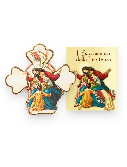 Cartoncino con Croce in polimero sagomata con immagini a rilievo e dettagli in oro a caldo