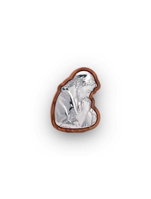 Quadretto in ulivo sagomato con placca in lamina d'argento