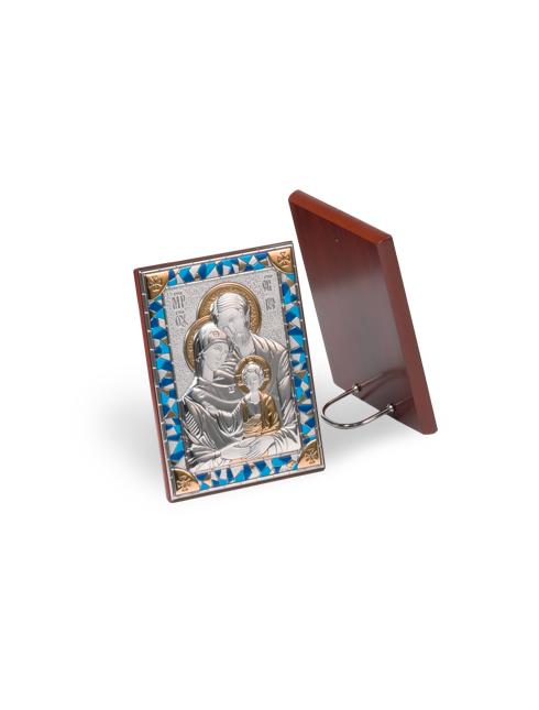Quadretto con retro in legno e placca in argento bilaminato