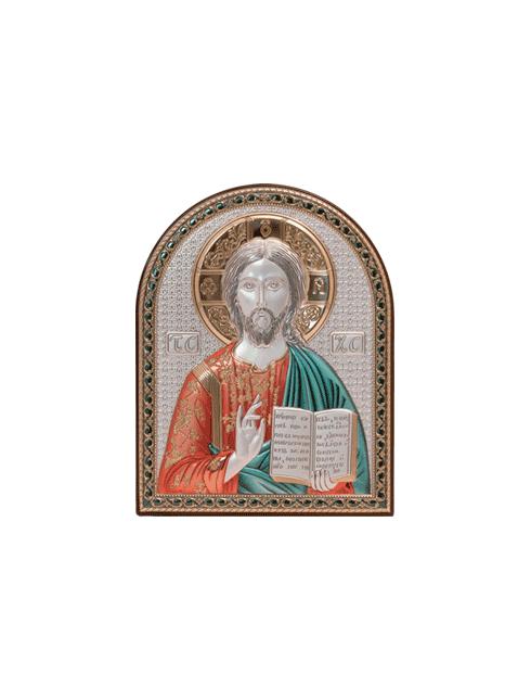 Quadro in legno con placca in argento bilaminato  con dettagli colorati