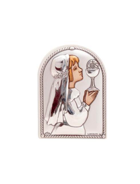 Quadretto da appoggio  con placca in argento bilaminato con dettagli colorati 6x4 cm