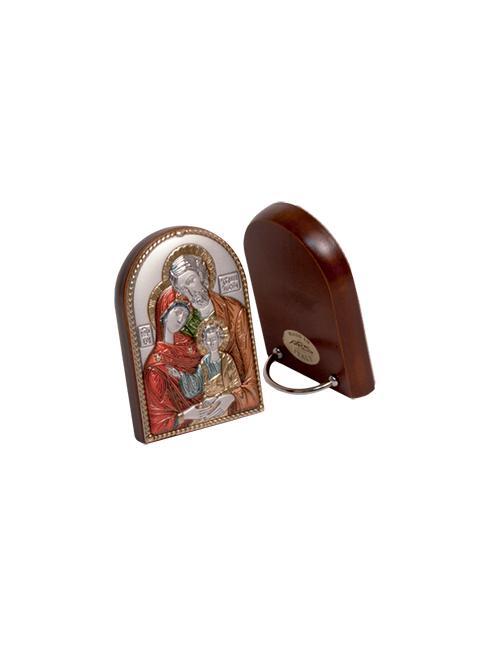 Quadretto colore legno con placca in argento bilaminato con dettagli colorati