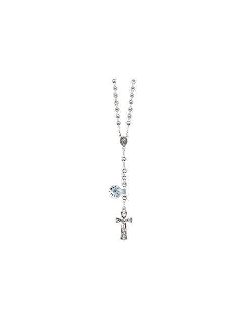 rosario in argento 925 astuccio incluso grani lisci 5 mm