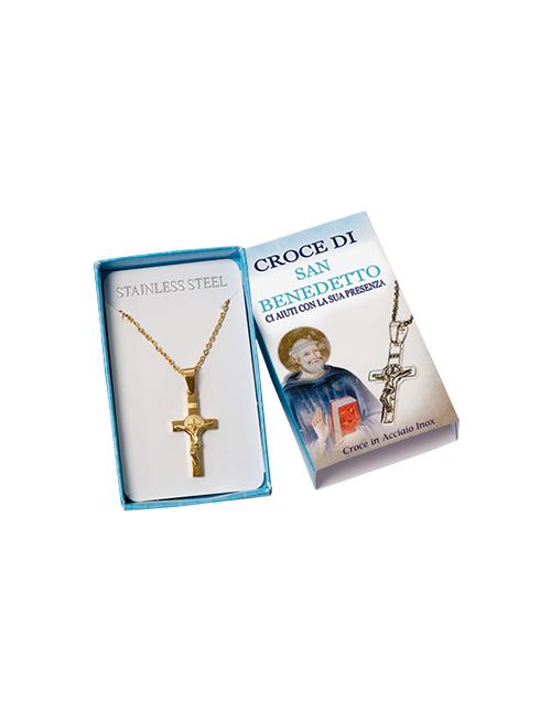 Confezione con croce in acciaio inox - S. Benedetto