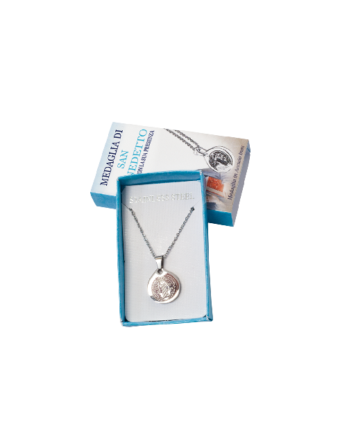 Confezione con medaglia in acciaio inox - S. Benedetto