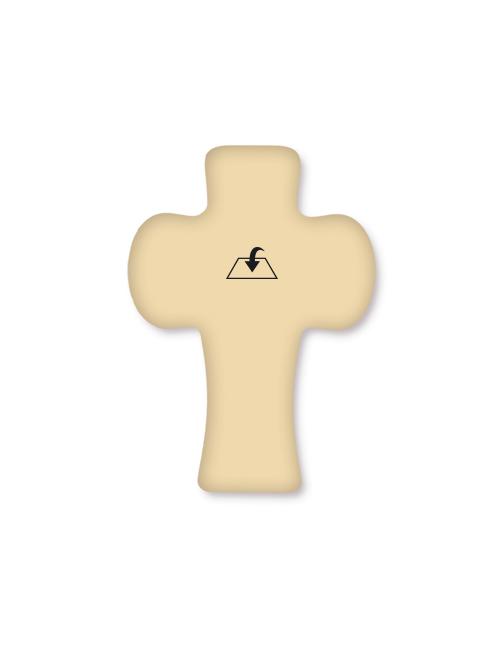 Croce in polimero colore legno con immagine e preghiera con effetto rilievo al tatto
