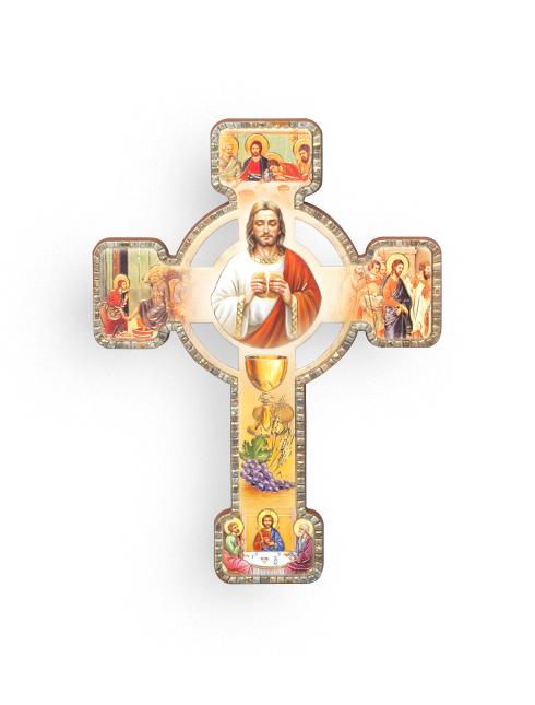 Croce effetto legno a rilievo con figure tematiche