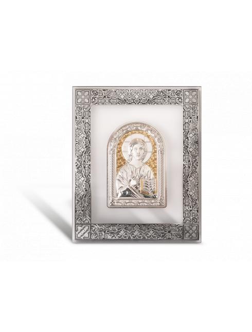 Quadro da parete in cristallo con dettagli argentati a rilievo con placca in argento  bilaminato con dettagli dorati