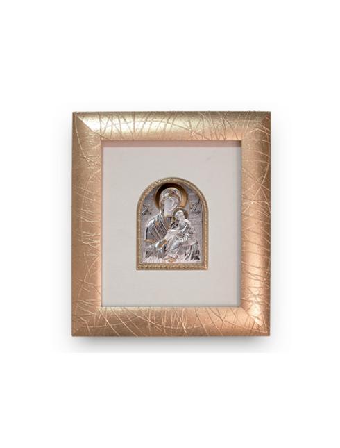 Cornice  in legno decorata  con foglia oro e placca argento bilaminato con dettagli dorati