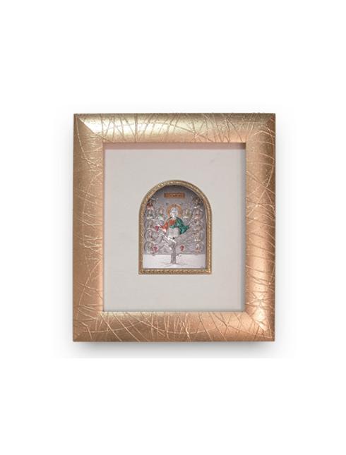 Cornice in legno decorata con oro e placca argento bilaminato con dettagli colorati