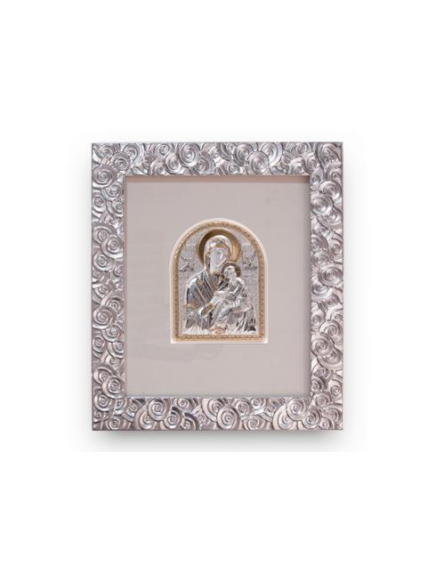 Cornice in legno decorata con foglia argento e placca argento con dettagli dorati