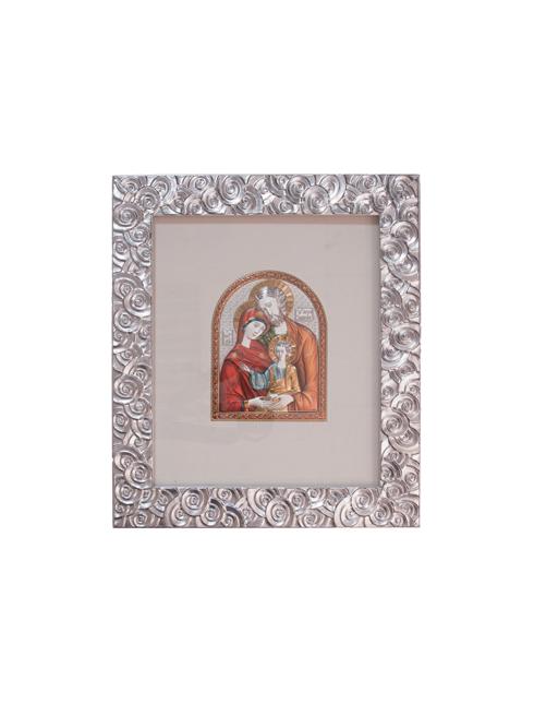 Cornice in legno decorata con foglia argento e placca argento con dettagli colorati