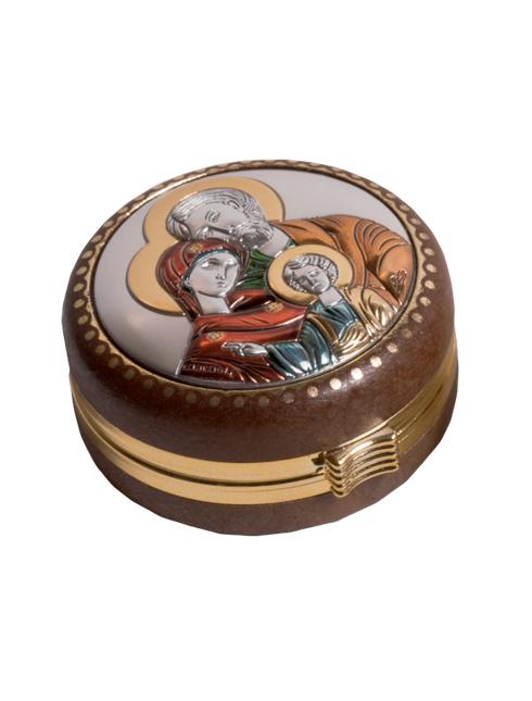 Scatolina  portarosario con placca in argento bilaminato  con dettagli colorati