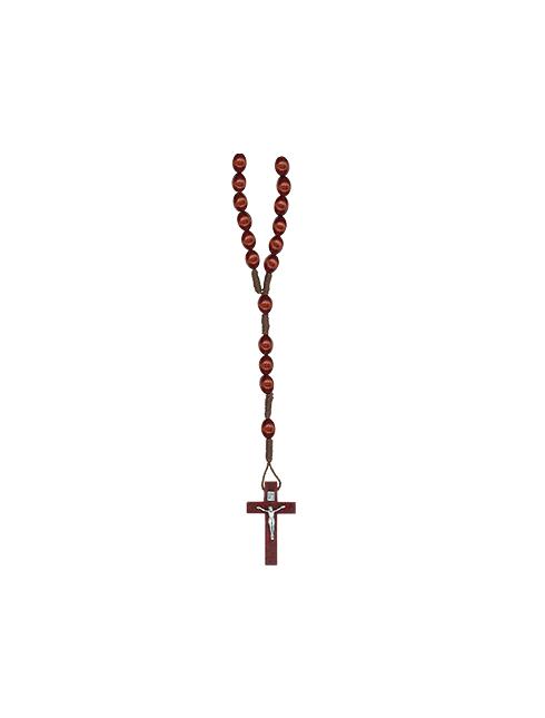 Rosario in corda con grani in legno