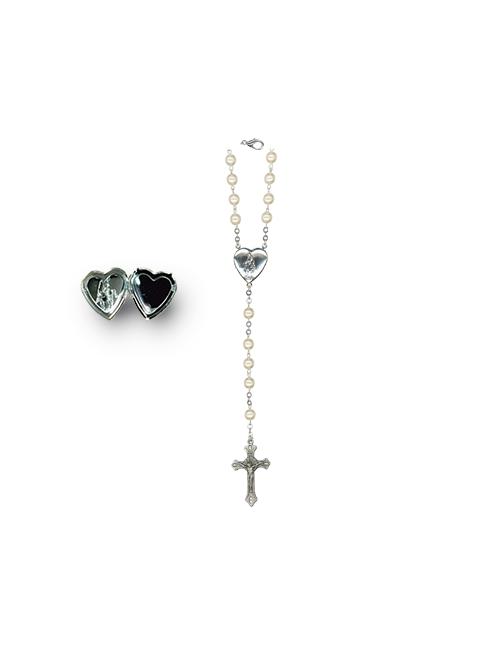 Rosario con grani effetto perla con crociera cuore apribile