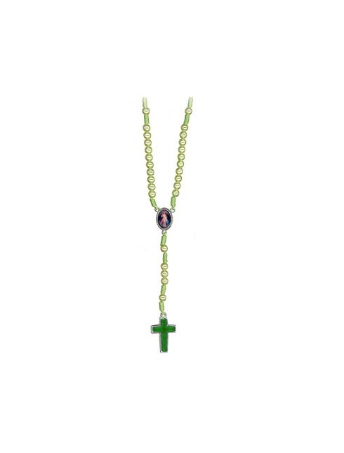 """Rosario in corda  con grani effetto perla """"grani 6mm"""""""