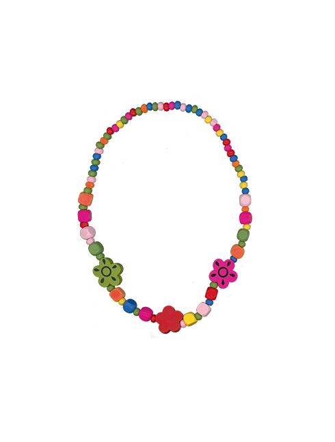Collana in legno multicolore con fiorellino personalizzabile