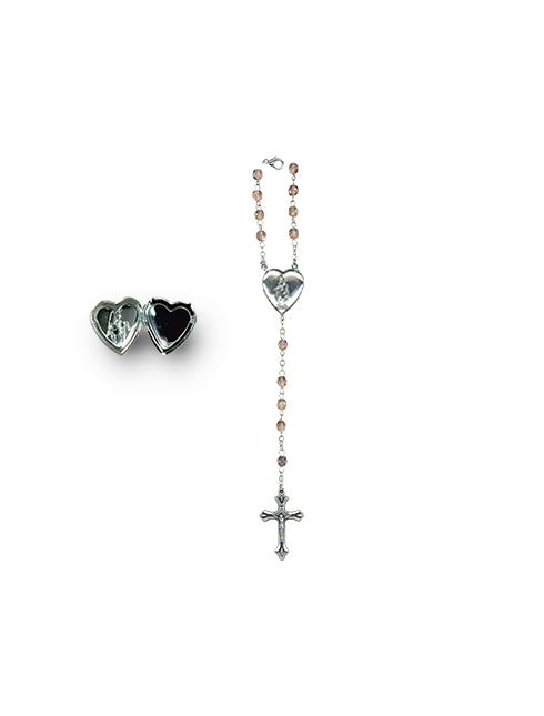 Rosario con  grani mezzo cristallo con crociera cuore apribile  grani 4 mm