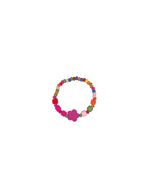 Bracciale in legno multicolore con fiorellino personalizzabile