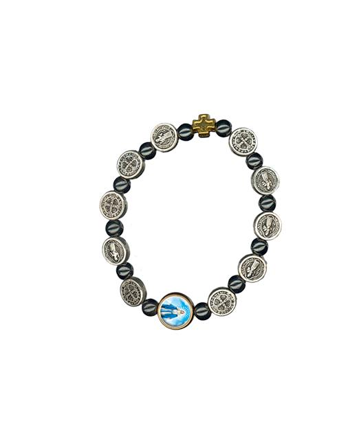 Bracciale San Benedetto elastico argento