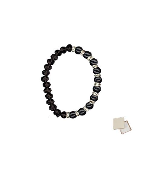 Bracciale elastico con grani in elastico e perla con astuccio