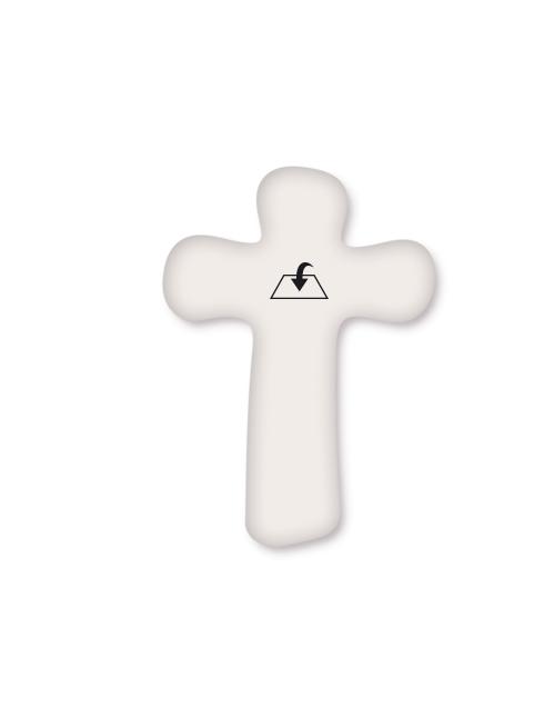 Croce effetto perla con Cristo in polimero a rilievo