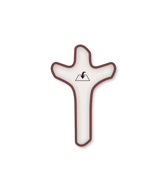 Crocifisso in legno con interno effetto pietra e Cristo in metallo