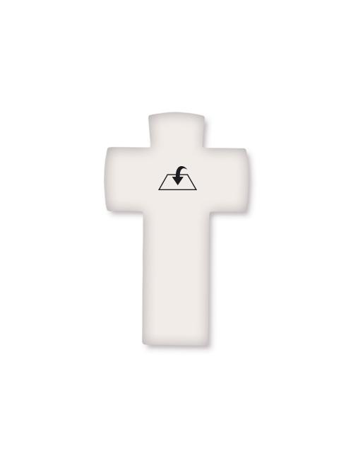Croce in pietra sintetica con preghiera Angelo di Dio