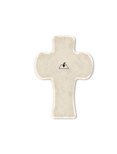 Croce bombata effetto perla