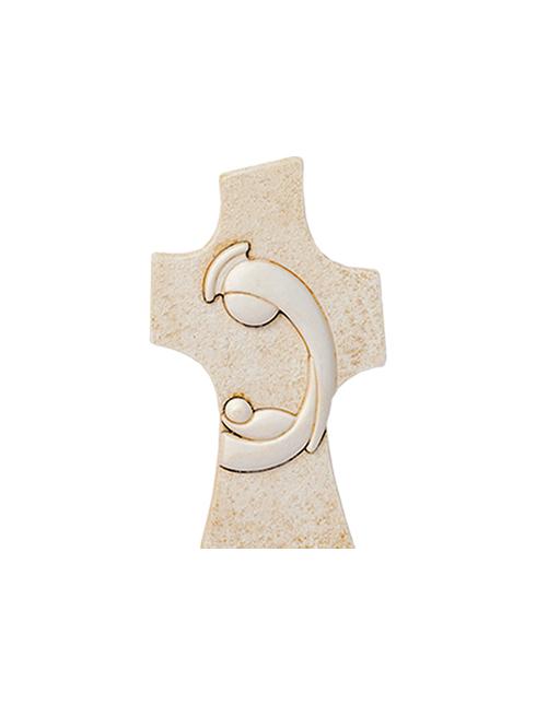 Croce in resina effetto pietra con soggetto a rilievo