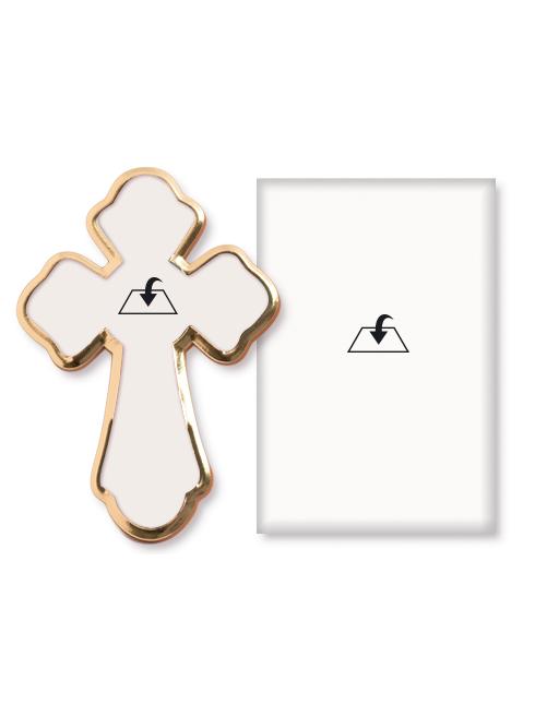 Croce in polimero con rilievi e dettagli in oro a caldo lucido