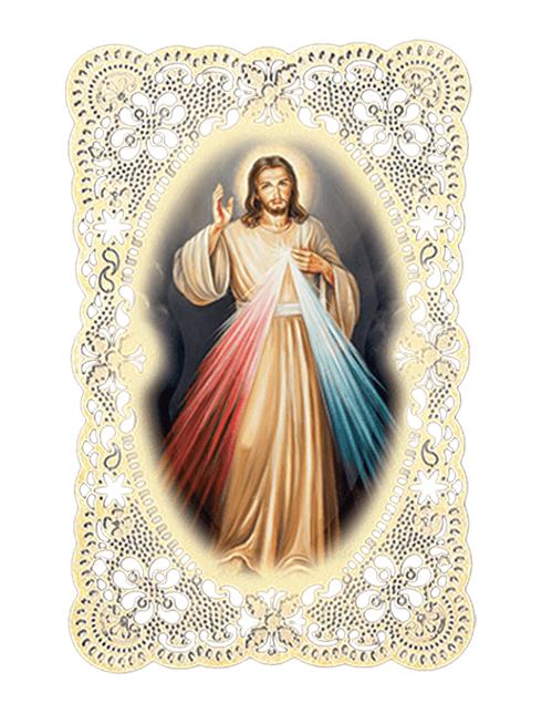 Immagine sacra ricamata da collezione con preghiera sul retro