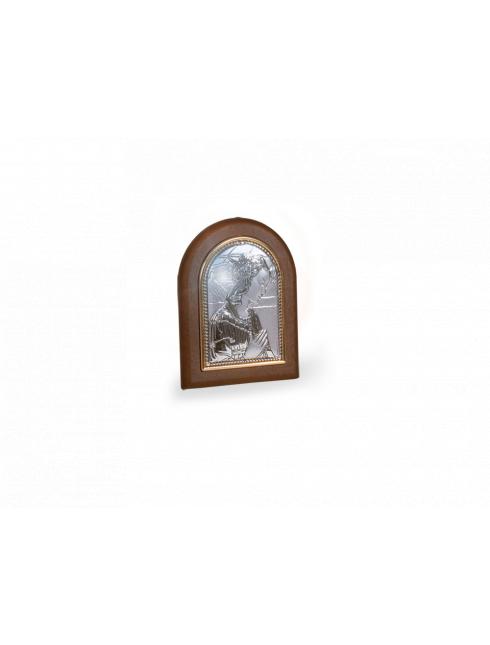 Quadretto cappella effetto legno con placca in argento bilaminato
