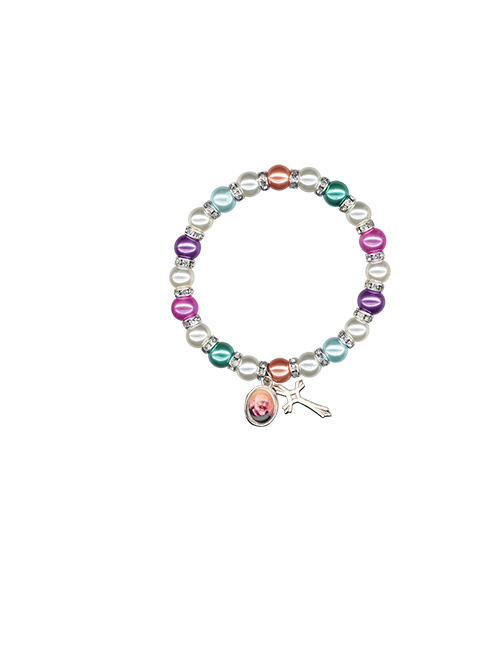 Bracciale elastico con perle colorate e strass