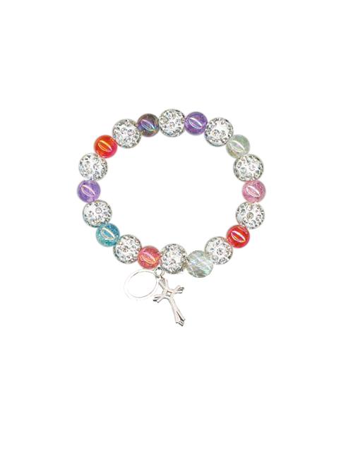 Bracciale con grani glitter multicolor