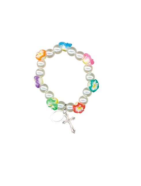 Bracciale bimbi con grani in perla e fiori colorati
