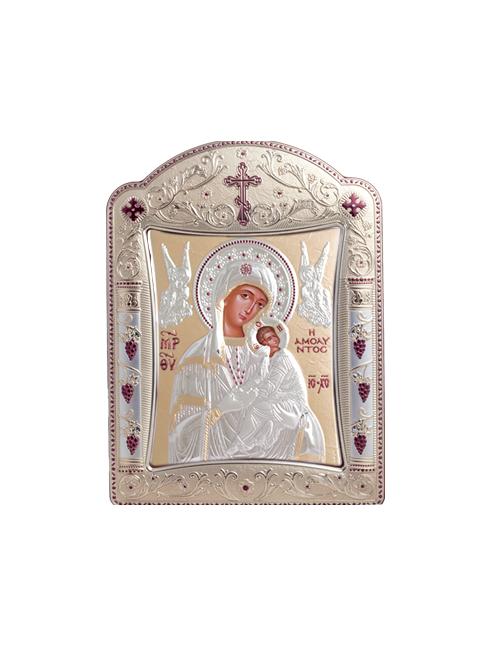 Icone ortodosse in legno e argento PUD 10,5x7,9 cm