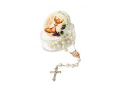 Scatolina in plex ovale con coperchio effetto porcellana e corona perlata