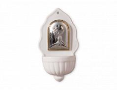 Acquasantiera in porcellana con placca in argento bilaminato