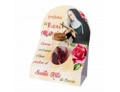 Confezione con flaconcino petali di rose profumati