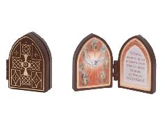 Mini Dittico con immagine Santa Cresima con oro a caldo 7x4,5 cm