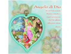 """Sopraculla in polimero a cuore con cartoncino """"Preghiera Angelo di Dio"""""""