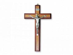 Croce effetto legno con corpo in metallo