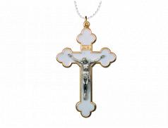 Croce smaltata in metallo con laccio