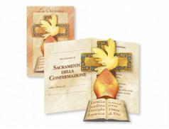 Biglietto Certificato pieghevole con quadretto sagomato della Santa Cresima